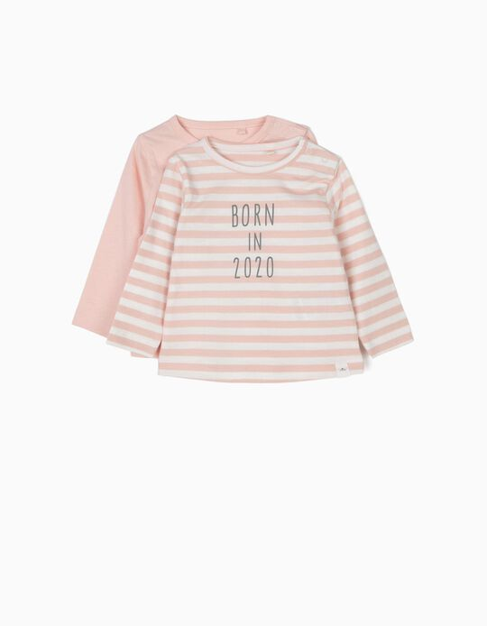 2 Long-sleeve T-shirts for Newborn Girls 'Born in 2020', Pink