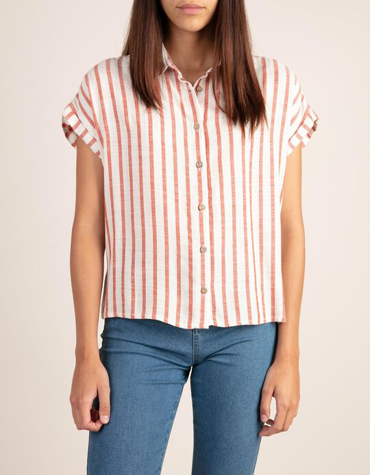 Short-sleeved, striped blouse with a touch of linen