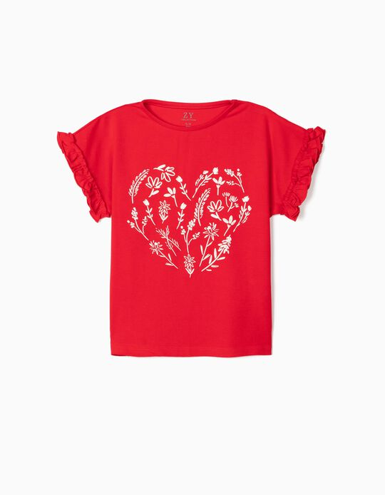 T-shirt for Girls 'Flowers', Red