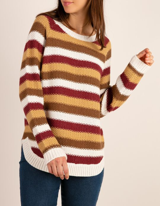 Moss stitch striped jumper