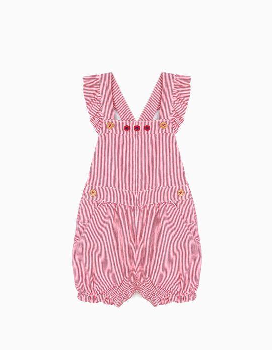 Macacão para Bebé Menina Riscas, Vermelho