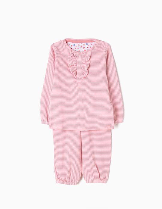 Pijama Manga Comprida e Calças Riscas