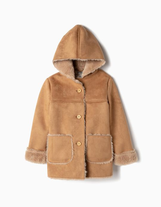 Suedette Coat for Girls, Camel