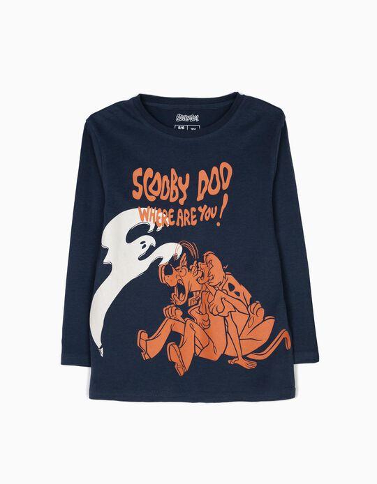 T-shirt Manga Comprida Scooby Doo Azul