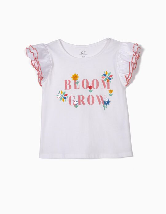 T-shirt para Menina 'Bloom Grow', Branco