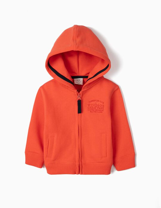 Hooded Jacket for Baby Boys, 'Treehouse Club', Orange