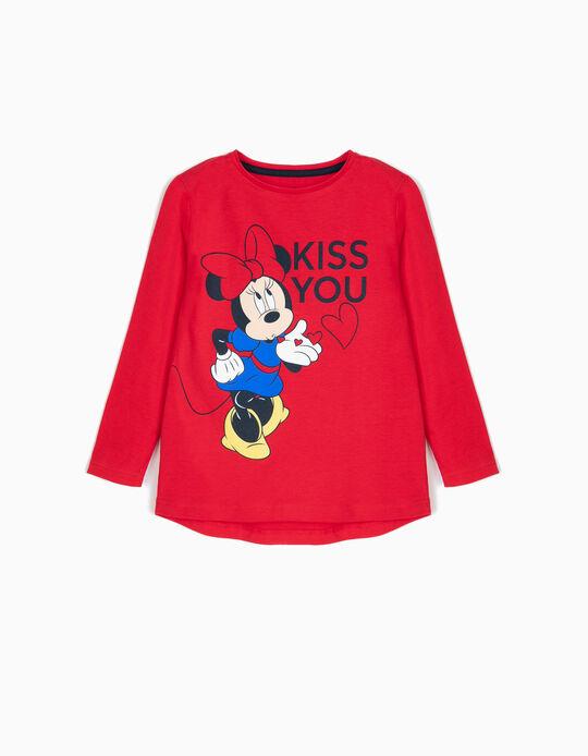 T-shirt Manga Comprida Minnie Kiss Vermelho