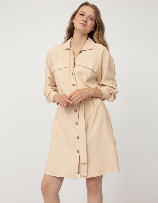 Long Sleeve Dress for Women, Beige