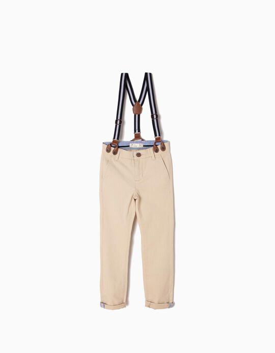 Beige Trousers with Braces