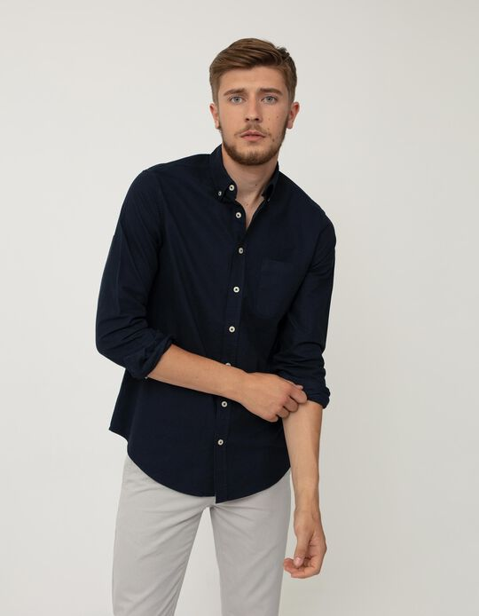 Camisa Slim Fit, Homem, Azul Escuro