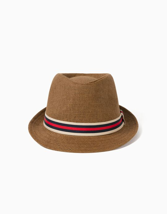 Straw Hat with Ribbon, for Men