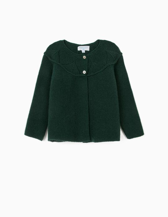 Woollen Cardigan for Baby Girls, 'B&S', Dark Green