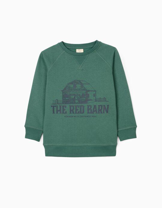 Sweatshirt para Menino 'The Red Barn', Verde