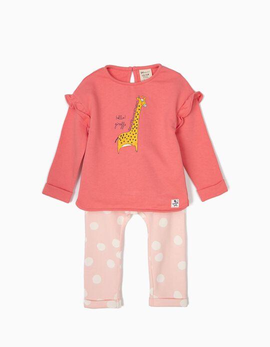 Fato de Treino para Bebé Menina 'Giraffe', Rosa