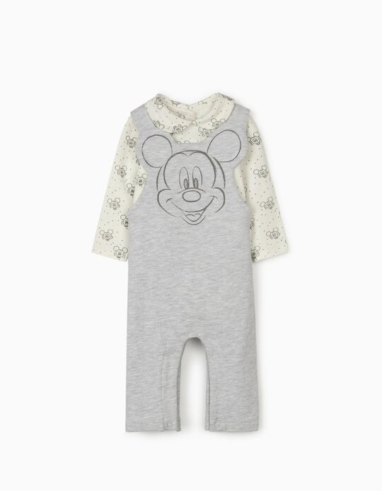Jardineiras e Body para Recém-Nascido 'Mickey', Cinza/Branco