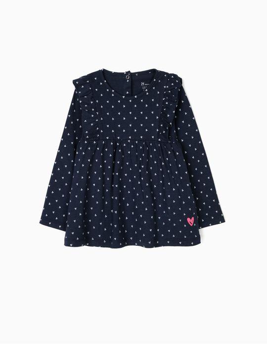 T-shirt Manga Comprida para Bebé Menina Corações, Azul