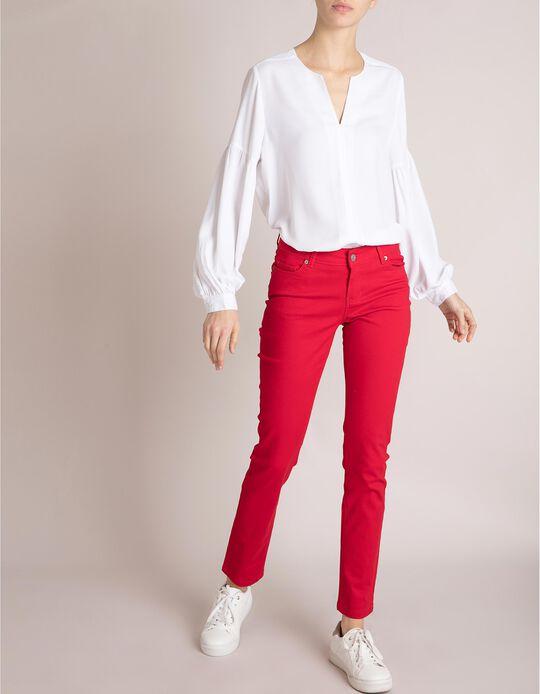 Calças Sarja Vermelhas