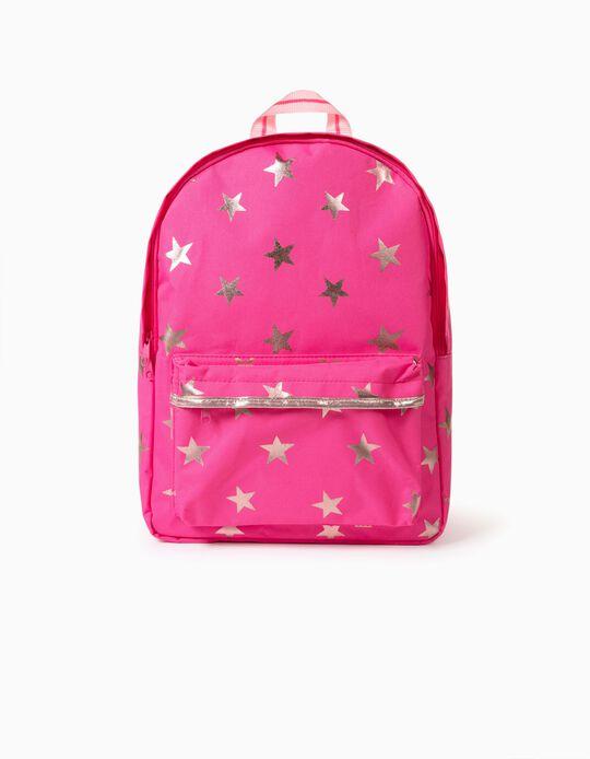 Backpack for Girls 'Stars', Pink/Golden