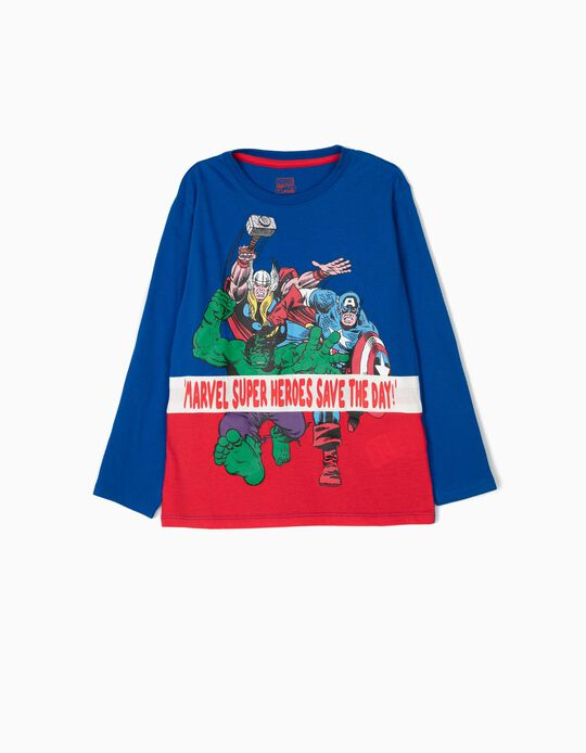 T-shirt Manga Comprida para Menino 'Marvel', Azul