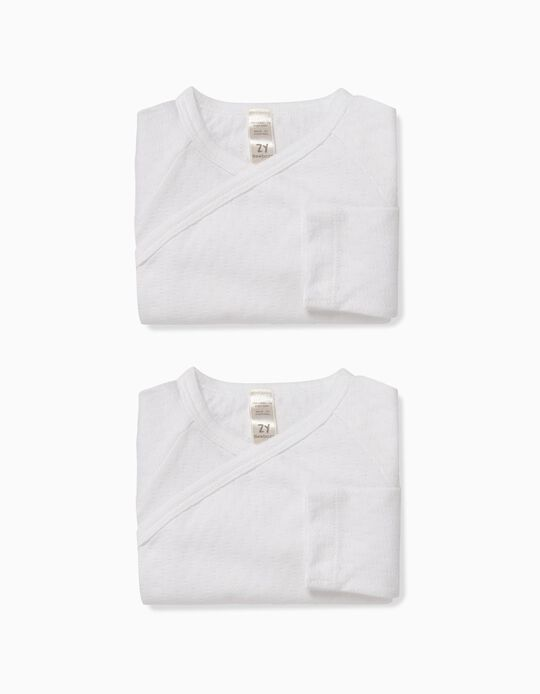 2-Pack Textured Bodysuits for Newborn, White