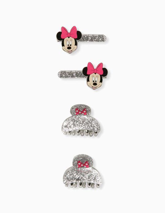 2 Snap Hair Clips + 2 Hair Slides 'Minnie Mouse', Silver
