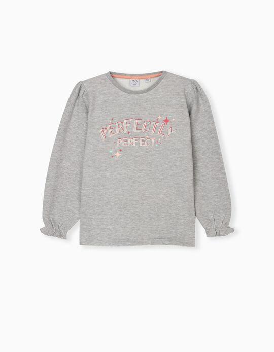 Sweatshirt with Ruffle, Girls, Grey