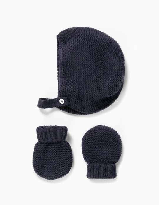 Knit Beanie and Gloves Set for Newborn, Dark Blue