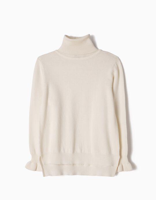 Camisola de Malha Gola Alta Branca