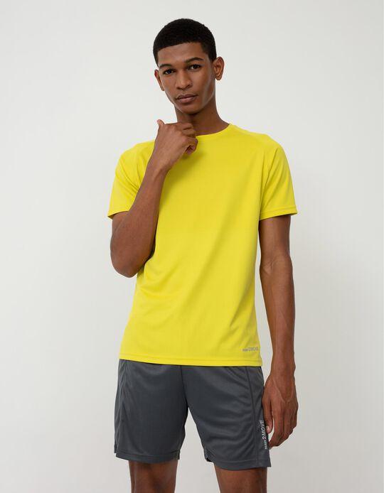 Sports Techno T-shirt for Men, Yellow