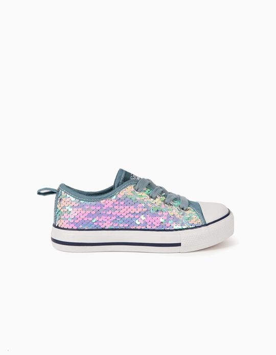 Sequinned Trainers for Girls, '50s Sneaker', Light Blue