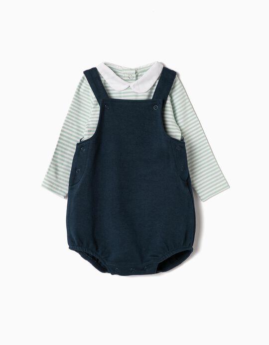 Romper and Bodysuit for Newborns 'Stripes', Blue/Light Green