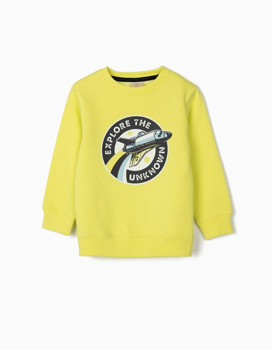 Sweatshirt para Menino 'Explore the Unknown', Amarelo Lima