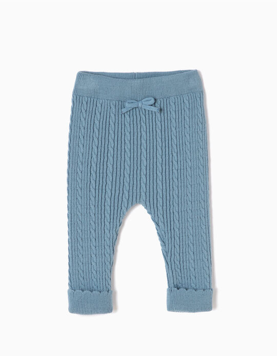 Blue Knitted Trousers with Small Bow