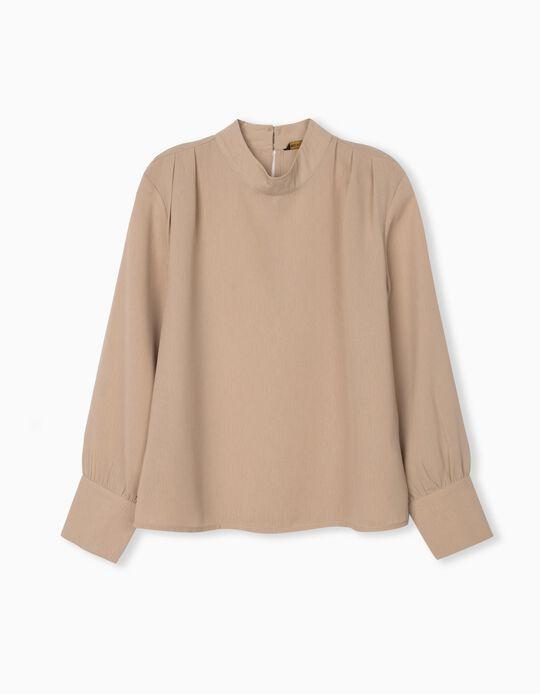Fluid Long Sleeve Blouse, Women, Beige