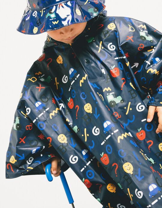 Rain Cover for Boys 'ABC', Dark Blue
