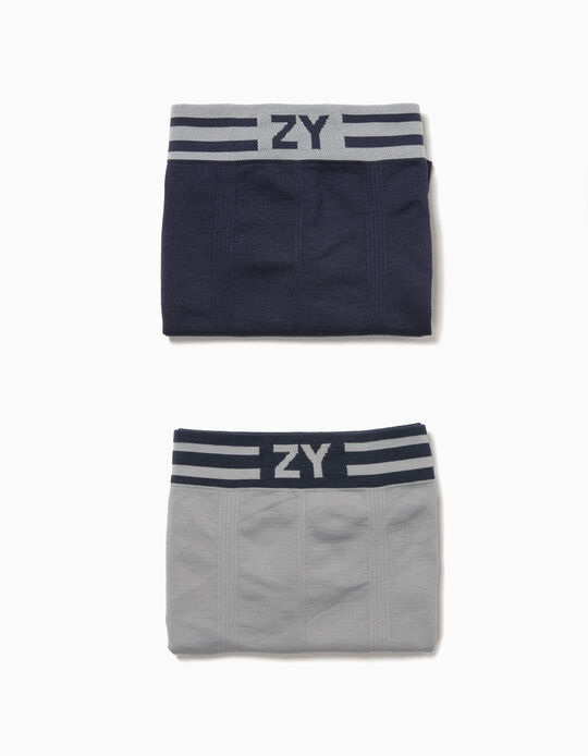 2-Pack Seamless Boxers for Boys 'ZY', Blue and Grey