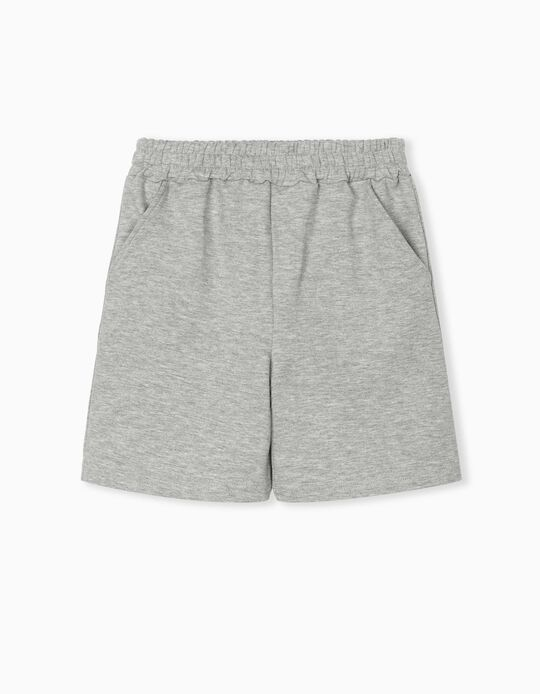 Jogger Shorts for Boys, Light Grey