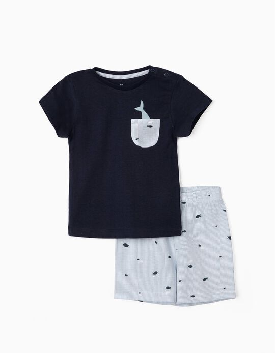 Pyjamas for Baby Boys, 'Fish', Blue