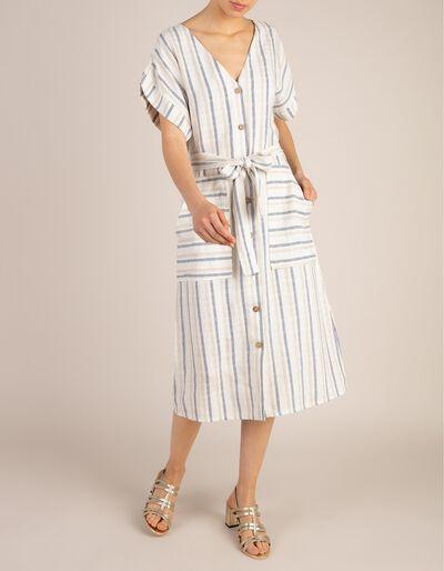 Vestido Mistura De Linho