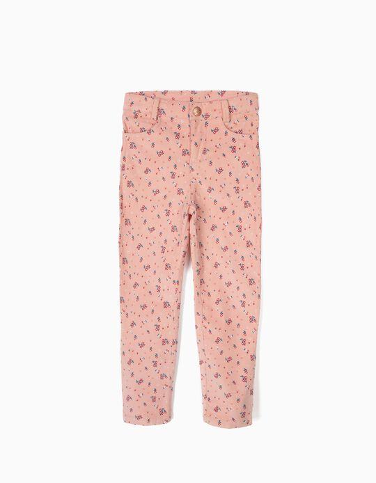 Calças de Bombazine Flores Rosa
