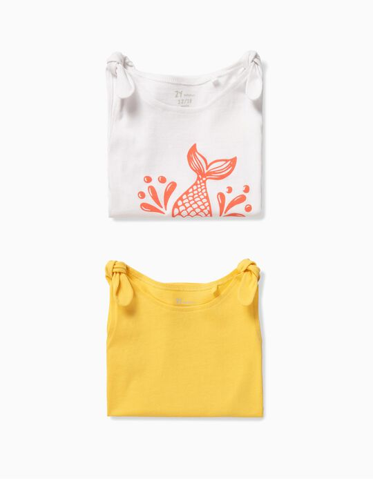2 Tops para Bebé Menina 'Mini Mermaid', Branco e Amarelo
