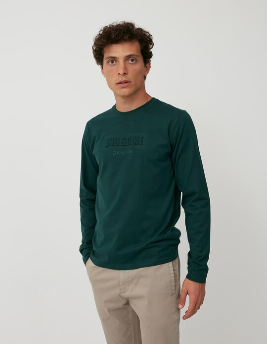 Long Sleeve Minimalist Top, Men, Green