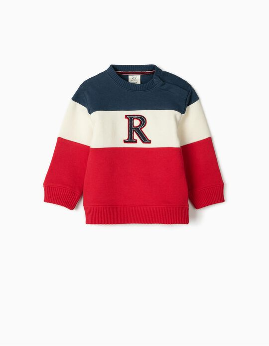 Sweatshirt para Bebé Menino 'R', Azul/Branco/Vermelho