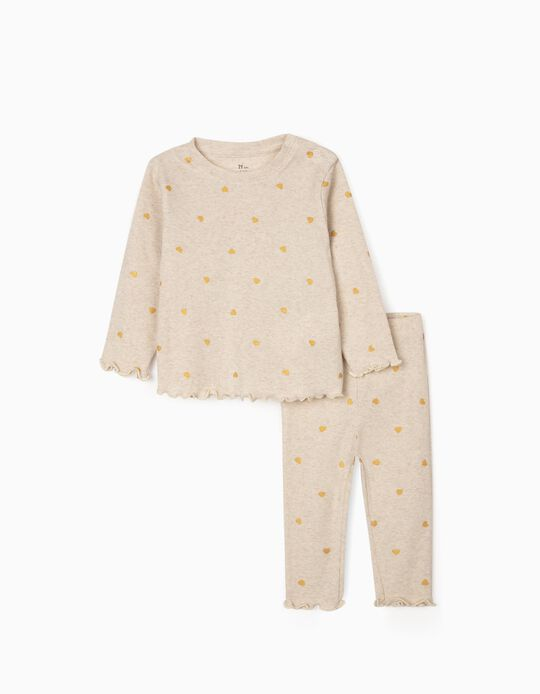 Rib Knit Pyjamas for Baby Girls 'Hearts', Marl Beige