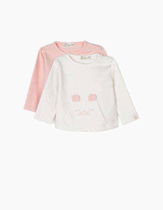2 Sweatshirts para Recém-Nascida 'Animals', Rosa e Branco