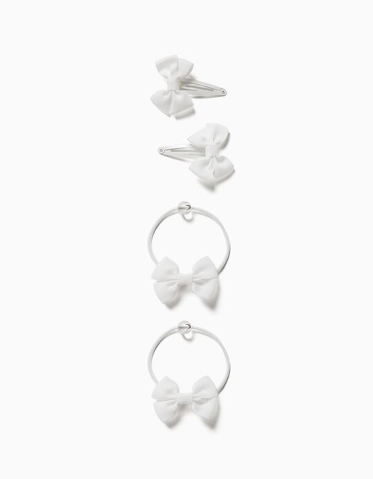 2 Hair Clips + 2 Bobbles for Girls, 'Bows', White