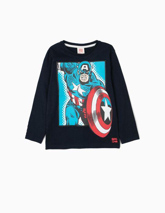 T-shirt Manga Comprida para Menino 'Captain America', Azul Escura