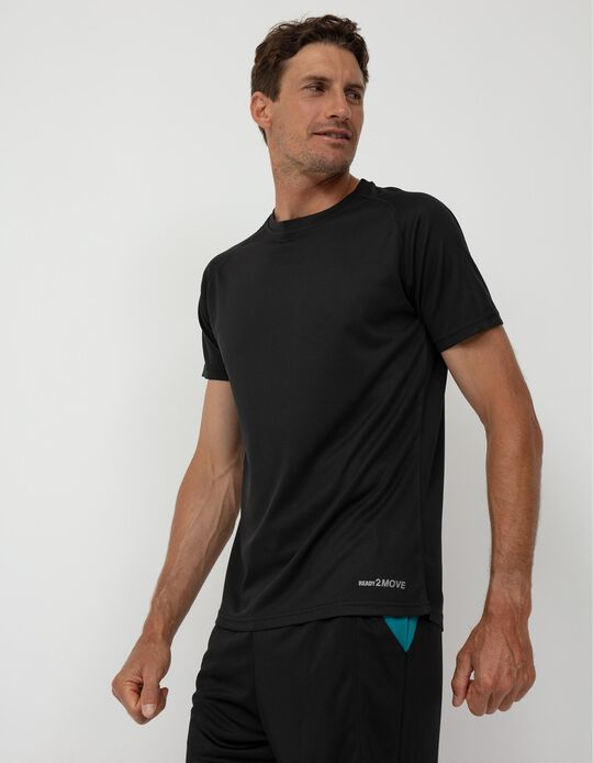 Sports Techno T-shirt for Men, Black