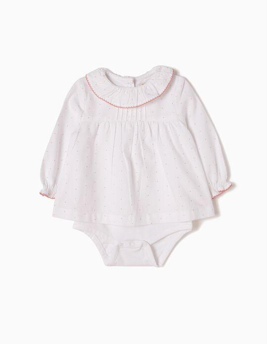 Body-Blusa Branca Pintinhas Rosa