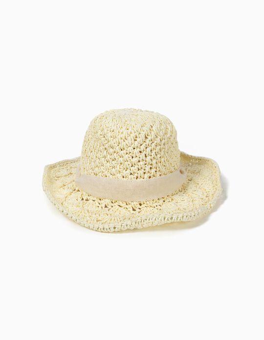 Chapéu de Palha para Menina, Bege